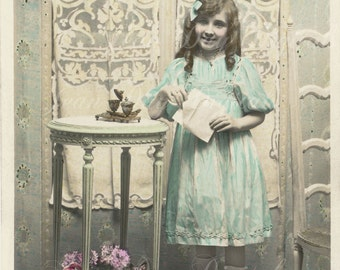 Avril with Inkwell and Table, French Postcard - Photo Scan - French Country - French Furniture Instant Digital Download FrA034