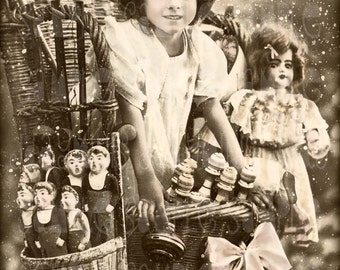 Christmas Gift Marie, Pere Noel's Basket 1913 - French Postcard early 1908 - Photo Scan -Instant Digital Download FC018