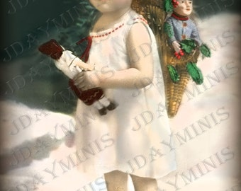 French Christmas, Suzanne Little Noel Elf - 1909 French Postcard Scan, Gift Tag -Instant Digital Download FC035