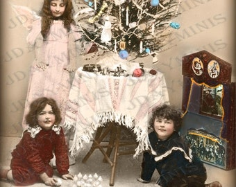 French Christmas toys, Angel Blessings, boys, toy theater -  French Postcard Scan, Gift Tag - Instant Digital Download FC042