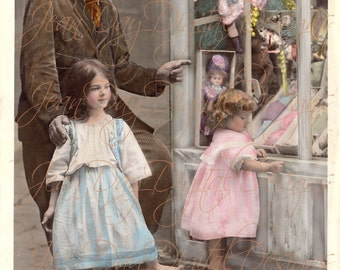 Grandpa and Girls Wishes at Toy Store Window 1908, French Postcard Instant Digital Download FrA084