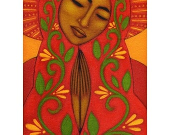 Red Mexican Madonna Guadalupe Folk Art Print of Painting by Tamara Adams