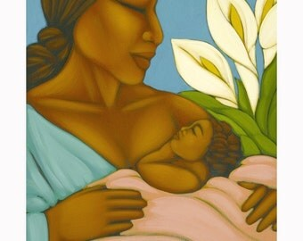Mexican Mother & Nursing Baby Midwifery Folk Art Print of Painting by Tamara Adams