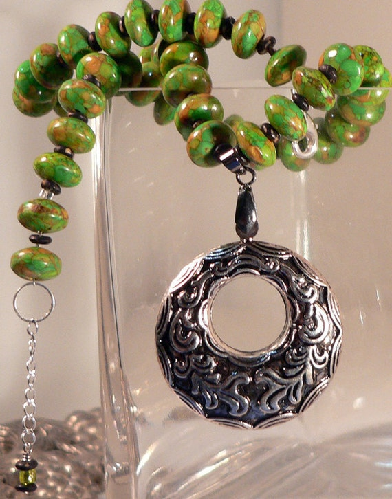 SHOP CLOSING - Necklace Green Magnesite Mosaic Beaded Wood Bead Silver Filigree Pendant