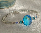 Streaming Bliss Lampwork Sterling Silver Crystal Bracelet dmfsparkles