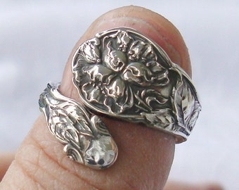 Cherry Blossoms Flower Gorham Vintage Sterling Silver Spoon Ring dmfsparkles