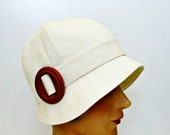 Cream Linen Cloche with Red Wooden Buckle - Made to Order