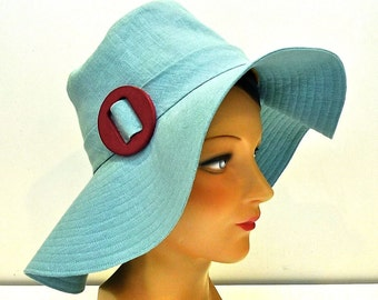Women's Sun Hat in Ice Blue Linen - Made to Order - 3 WEEKS to ship
