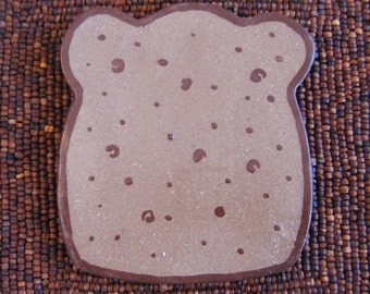 Funny Pottery Toast Trivet - Ceramic Hot Plate - Gag Gift Bread Foodie Humor
