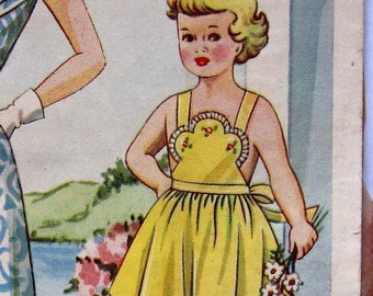 Vintage 50s Girls Sundress Pattern With Bib Front Sz 4 PDF File