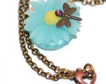 Blue Daisy, Daisy Necklace, Garden Necklace, Dragonfly Necklace, Sandwich, Massachusetts, Sandwich Glass