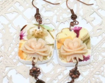 Earrings Copper and Recycled Antique Pottery Floral Square Romantic Earrings