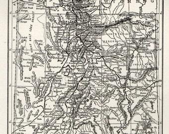 1907 Antique Edwardian  Map of  Utah L L Poates Engraving of New York for Framing