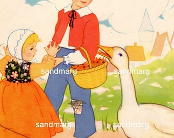 1926 Goosie Goosie Gander Childrens Mother Goose Storybook Illustration by Mary Royt to Frame