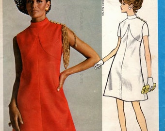 Vintage Vogue 2157 Bill Blass High Fitted A Line Dress Sewing Pattern  Size 16 Bust 38