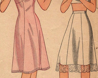 Vintage 1940s Simplicity 4628 Half Slip and Full Slip Sewing Pattern Size 12 Bust 30