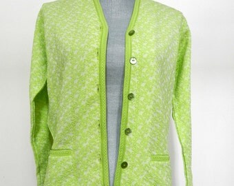 Vintage Lime Green 1960s Glenayr Kitten Sweater Front Buttons Banding