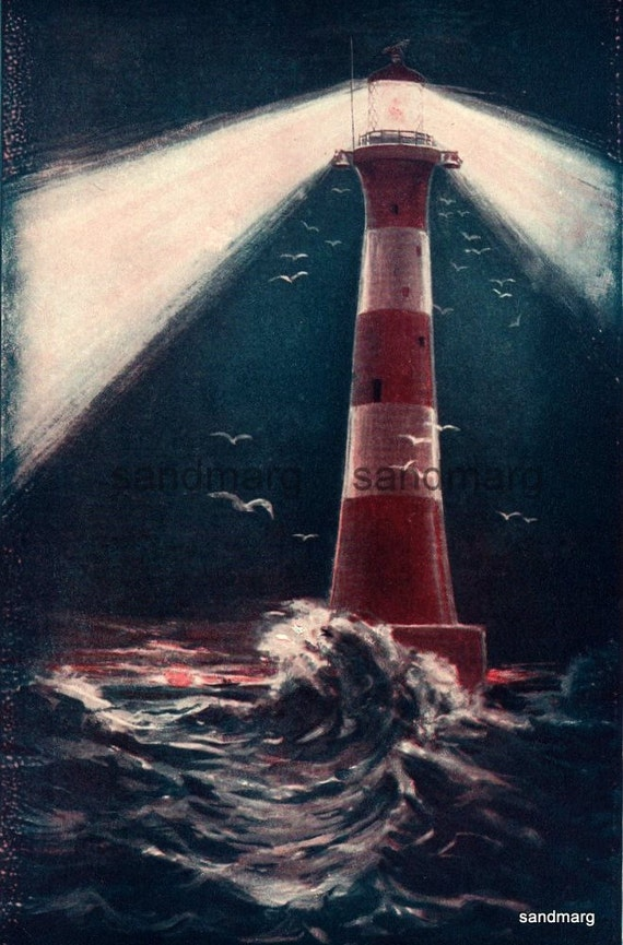 Vintage 1896 The Lighthouse The Light that Shines over the Sea Original Antique Print