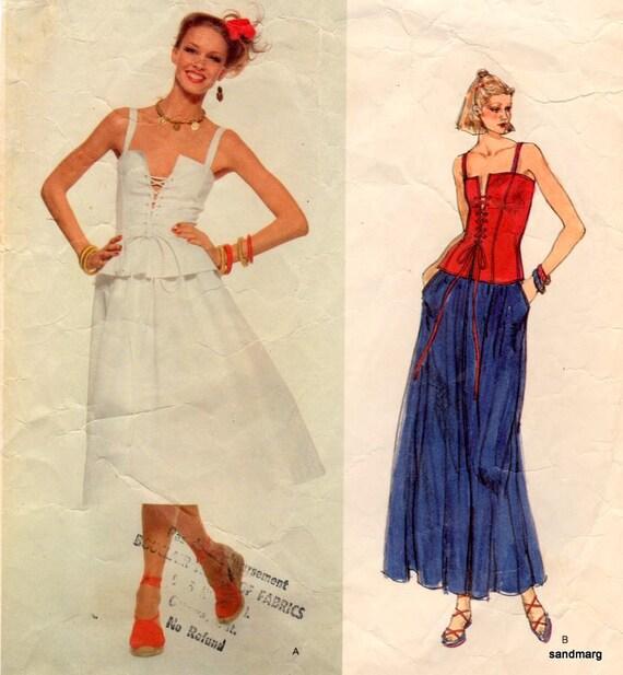 Vintage Vogue 1642 Paris Original Yves Saint Laurent Corset Top and Skirt Sewing Pattern Size 10