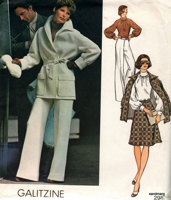 Vintage Vogue 2987 Galitzine Jacket Blouse Skirt and Pants Sewing Pattern  Size 12 Uncut
