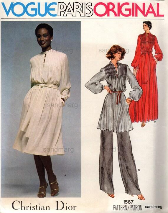 Vintage Vogue 1567 Paris Original  Christian Dior Tunic Dress Sash and Pants Sewing Pattern Size 14 Uncut