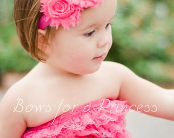 Hot Pink Double Shabby Flower Attached to Hot Pink Elastic Headband