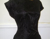 1980s Black Tiered Ruffle & Lace Party Dress with a Sexy Open Back - size medium to large