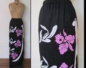 Vintage 1960s Black Tropical Hawaiian Maxi Skirt, KOKOKAHI, made in Hawaii - size large