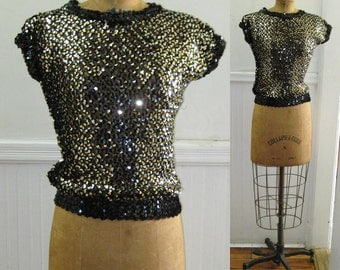 I love the nightlife - 1980s Black and Silver SEQUIN Knit Top - vintage size small