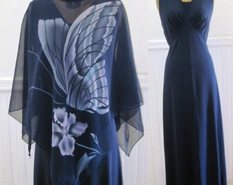 Vintage 70s dark navy blue Maxi Dress with Butterfly Overlay - size large