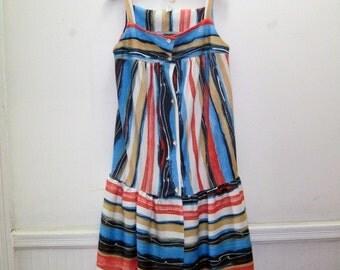 Vintage Striped Trapeze Sun Dress - size medium to large