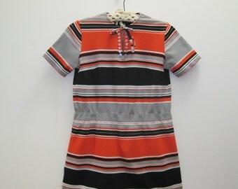 vintage SUPER MOD Orange, Black, and Grey  Striped Long Shirt  - T shirt, short sleeve shirt, Summer Top, long tunic - vintage size medium