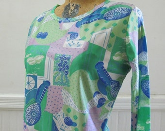 Psychedelic Picasso Still Life vintage Top, in lilac, lime green, kelly green, blue, navy, and white, size medium