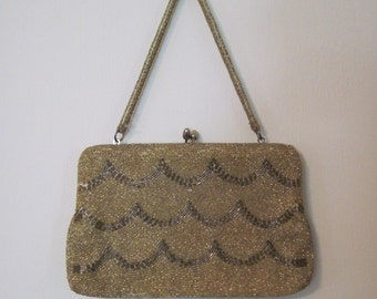 1960s GOLD Beaded Scalloped Purse - vintage metallic evening bag - La Regale