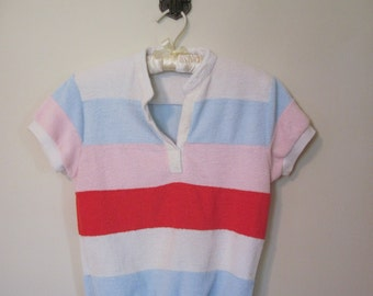 1980s Colorful Striped Terrycloth Top - vintage NEW WAVE, preppy  short sleeved shirt, T shirt, Summer  - size small