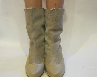 size 8 - 1970s Leather & Suede Boots with Sherpa Lining and Wooden Stacked Heels - vintage shoes