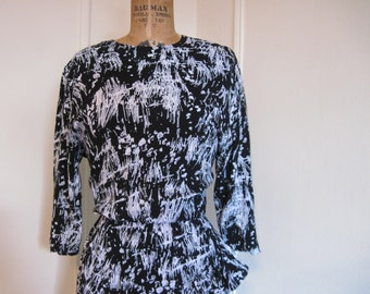 vintage 80s Black & White Abstract RUFFLE RUFFLE RUFFLE Party Dress - size small to medium, s/m
