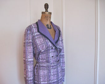 vintage 1970s Purple Plaid Dress - size large to extra large, l/xl