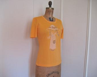 1970s Tangerine Tee Shirt with MOD Beaded Garden Girl ... You Go Grow Girl - vintage nylon top - size small to medium
