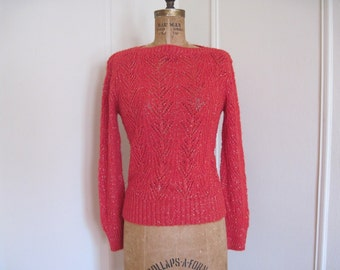 Red and Gold - 1980s Vintage Sparkling Metallic Sweater with a Bateau Neckline - size small to medium