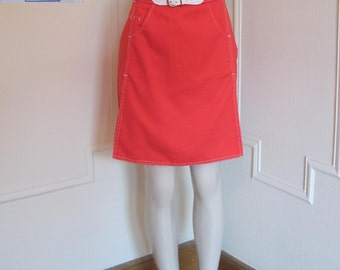 Vintage 1960s Bright Red Skort with decorative white stitching - skirt & shorts in one - size large