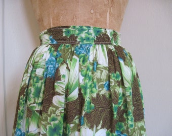 1960s vintage Tropical Green & Blue Floral Cotton Maxi Skirt, size xs/s extra small to small