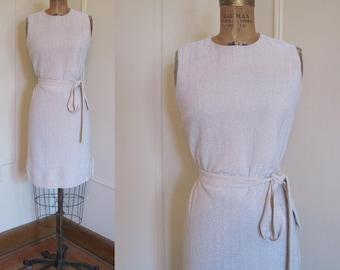 1960s MOD Silver Sparkle Shift Dress - size small to medium