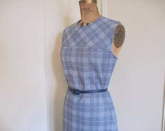 vintage 1960s Blue & White PLAID Scooter Dress - size medium