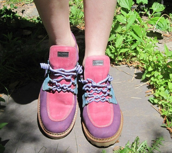 1980's Colorful PURPLE, PINK, GREEN Hiking Topsider Ankle Boots - vintage size 10 / fits 9-9.5