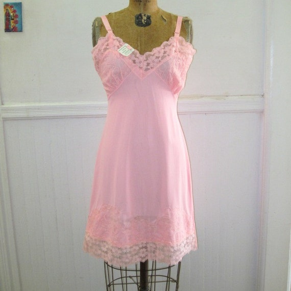 1970s Pink Full Slip Dress with Lace - NOS, new old stock, NEVER WORN with original tags - vintage size 36