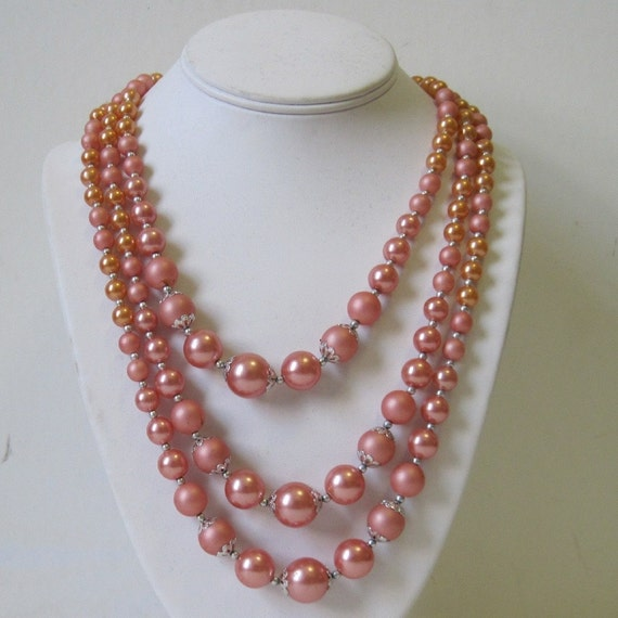 vintage Pink & Peach Champagne Multi-Strand Cocktail Necklace