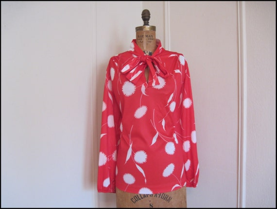 Red Dandelion vintage Librarian Blouse with Ascot at the Neck