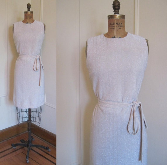 1960s MOD Silver Sparkle Shift Dress - size small to medium