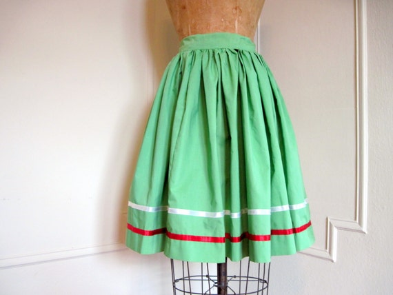 Softly Pleated GRASS GREEN Full Circle vintage Skirt with red and white satin ribbon stripes - extra small to small